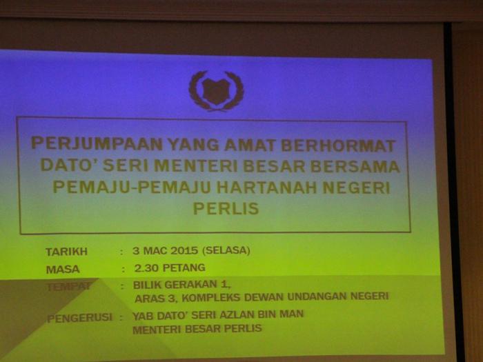 Meeting With Y.A.B Menteri Besar Perlis